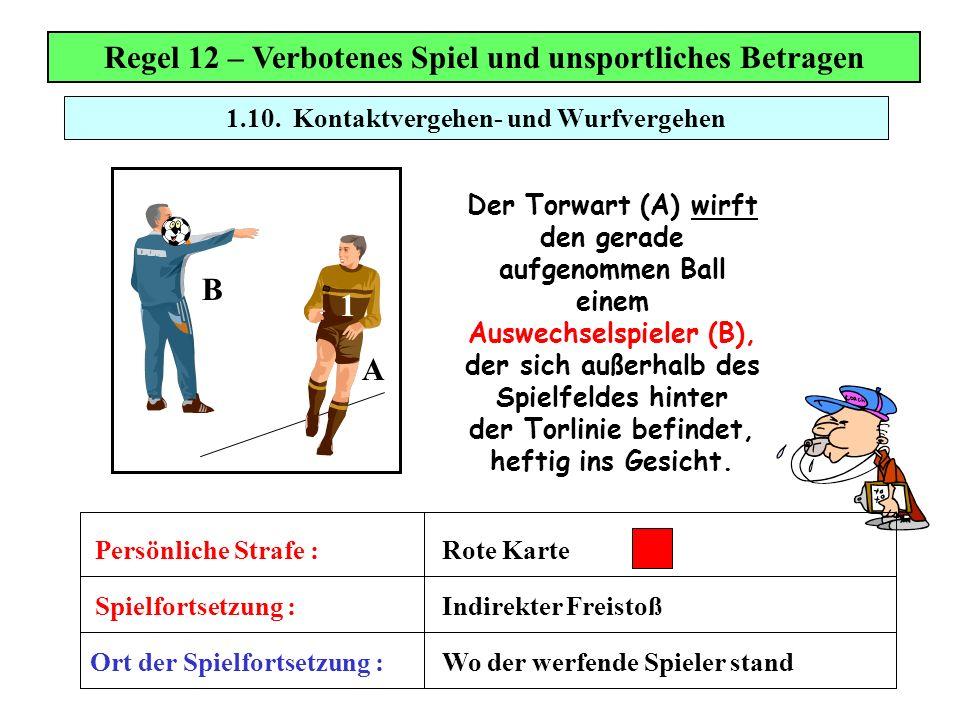 Regel 12 – Verbotenes Spiel und unsportliches Betragen Der Torwart (A) wirft den gerade aufgenommen Ball einem Auswechselspieler (B), der sich außerha