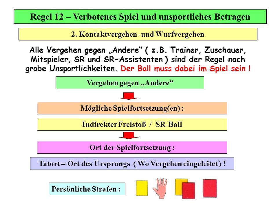 Regel 12 – Verbotenes Spiel und unsportliches Betragen Alle Vergehen gegen Andere ( z.B. Trainer, Zuschauer, Mitspieler, SR und SR-Assistenten ) sind