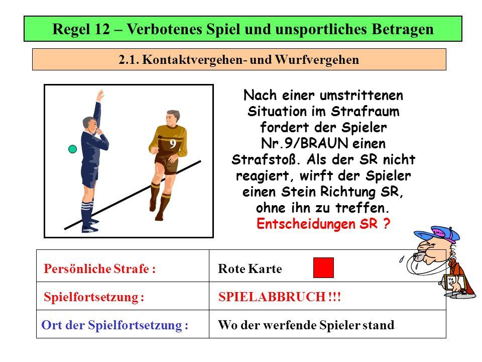 2.1. Kontaktvergehen- und Wurfvergehen Regel 12 – Verbotenes Spiel und unsportliches Betragen Nach einer umstrittenen Situation im Strafraum fordert d