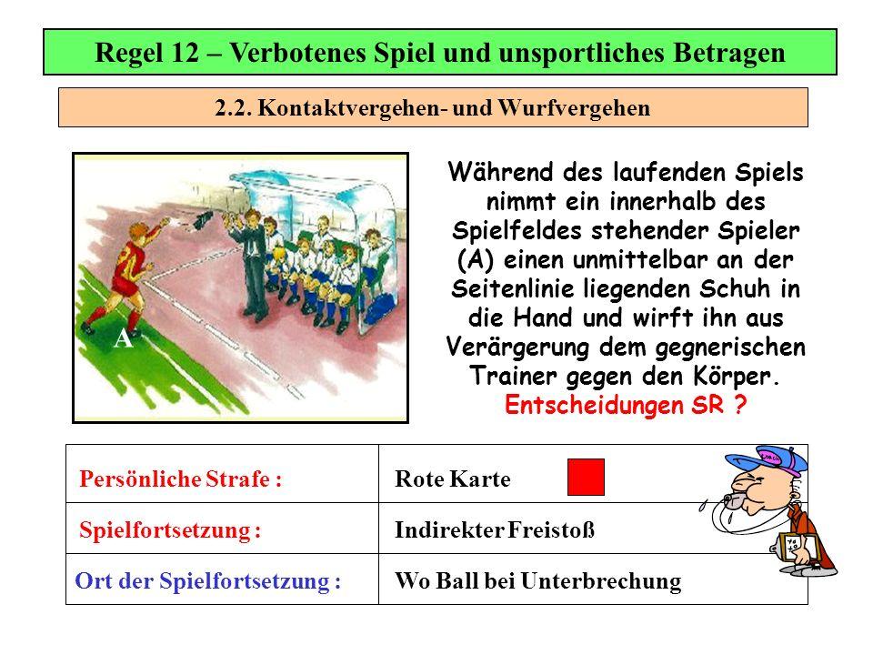 2.2. Kontaktvergehen- und Wurfvergehen Regel 12 – Verbotenes Spiel und unsportliches Betragen Während des laufenden Spiels nimmt ein innerhalb des Spi