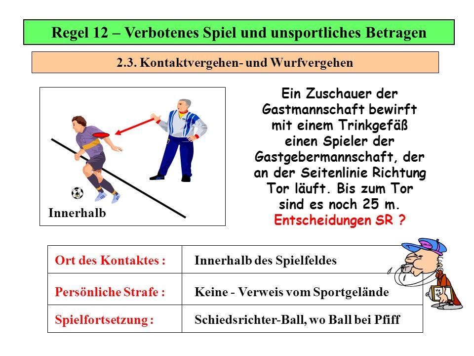 2.3. Kontaktvergehen- und Wurfvergehen Regel 12 – Verbotenes Spiel und unsportliches Betragen Spielfortsetzung : Persönliche Strafe : Ort des Kontakte