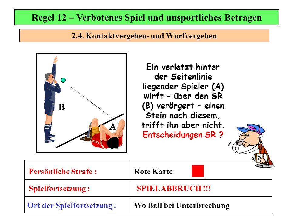 2.4. Kontaktvergehen- und Wurfvergehen Regel 12 – Verbotenes Spiel und unsportliches Betragen Ein verletzt hinter der Seitenlinie liegender Spieler (A