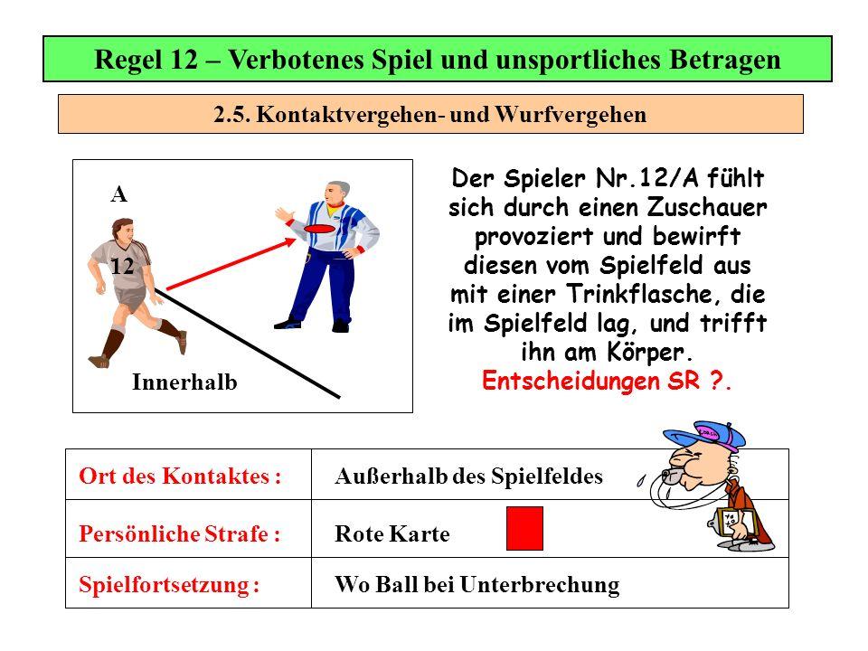 2.5. Kontaktvergehen- und Wurfvergehen Regel 12 – Verbotenes Spiel und unsportliches Betragen Der Spieler Nr.12/A fühlt sich durch einen Zuschauer pro