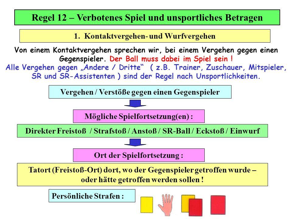 Regel 12 – Verbotenes Spiel und unsportliches Betragen Von einem Kontaktvergehen sprechen wir, bei einem Vergehen gegen einen Gegenspieler. Der Ball m