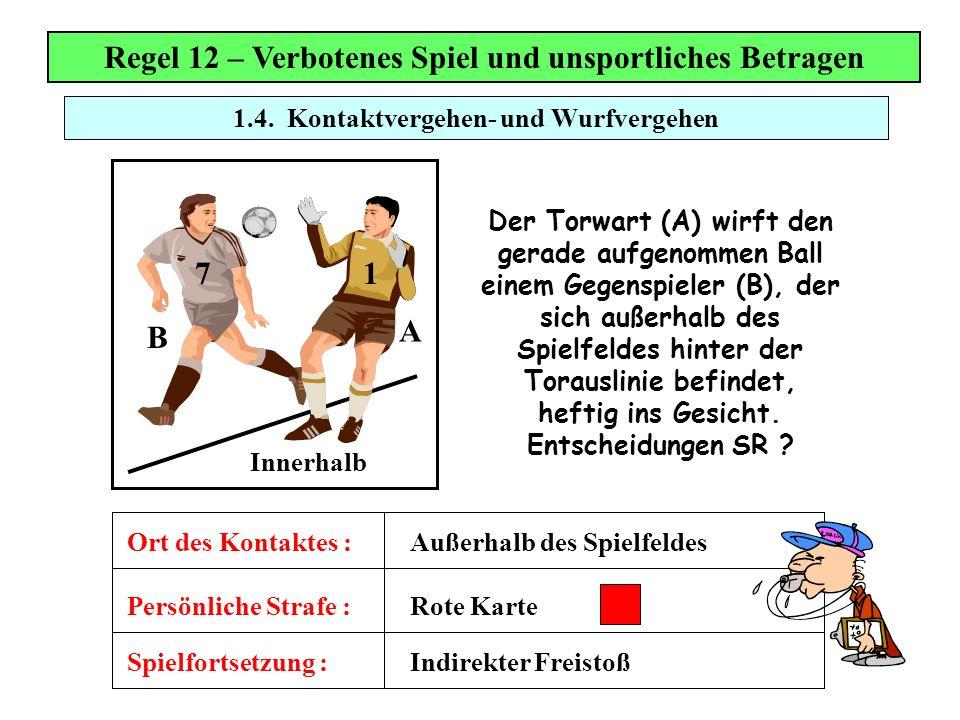 1.4. Kontaktvergehen- und Wurfvergehen Regel 12 – Verbotenes Spiel und unsportliches Betragen Der Torwart (A) wirft den gerade aufgenommen Ball einem