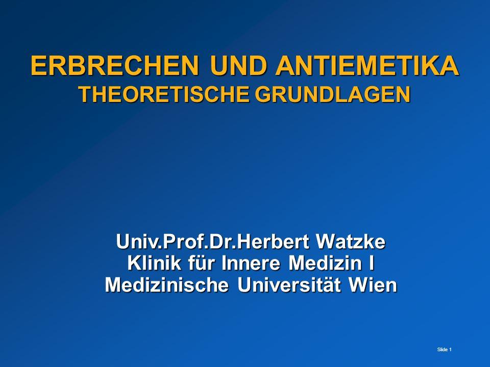 Slide 1 Univ.Prof.Dr.Herbert Watzke Klinik für Innere Medizin I Medizinische Universität Wien ERBRECHEN UND ANTIEMETIKA THEORETISCHE GRUNDLAGEN