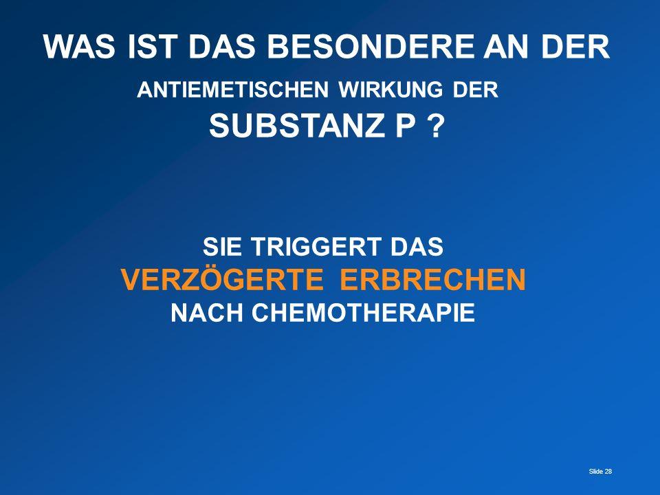 Slide 28 WAS IST DAS BESONDERE AN DER ANTIEMETISCHEN WIRKUNG DER SUBSTANZ P ? SIE TRIGGERT DAS VERZÖGERTE ERBRECHEN NACH CHEMOTHERAPIE