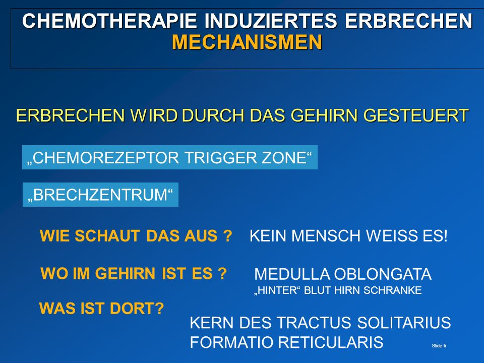 Slide 6 CHEMOTHERAPIE INDUZIERTES ERBRECHEN MECHANISMEN ERBRECHEN WIRD DURCH DAS GEHIRN GESTEUERT CHEMOREZEPTOR TRIGGER ZONE WIE SCHAUT DAS AUS ? WO I