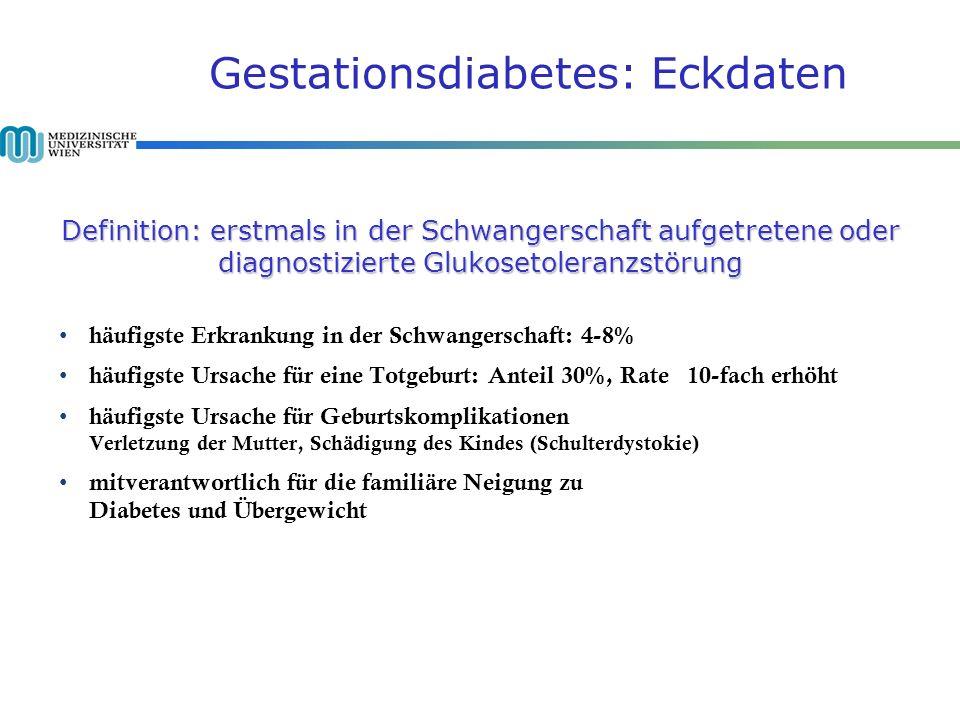 Definition: erstmals in der Schwangerschaft aufgetretene oder diagnostizierte Glukosetoleranzstörung Gestationsdiabetes: Eckdaten Definition: erstmals in der Schwangerschaft aufgetretene oder diagnostizierte Glukosetoleranzstörung häufigste Erkrankung in der Schwangerschaft: 4-8% häufigste Ursache für eine Totgeburt: Anteil 30%, Rate 10-fach erhöht häufigste Ursache für Geburtskomplikationen Verletzung der Mutter, Schädigung des Kindes (Schulterdystokie) mitverantwortlich für die familiäre Neigung zu Diabetes und Übergewicht