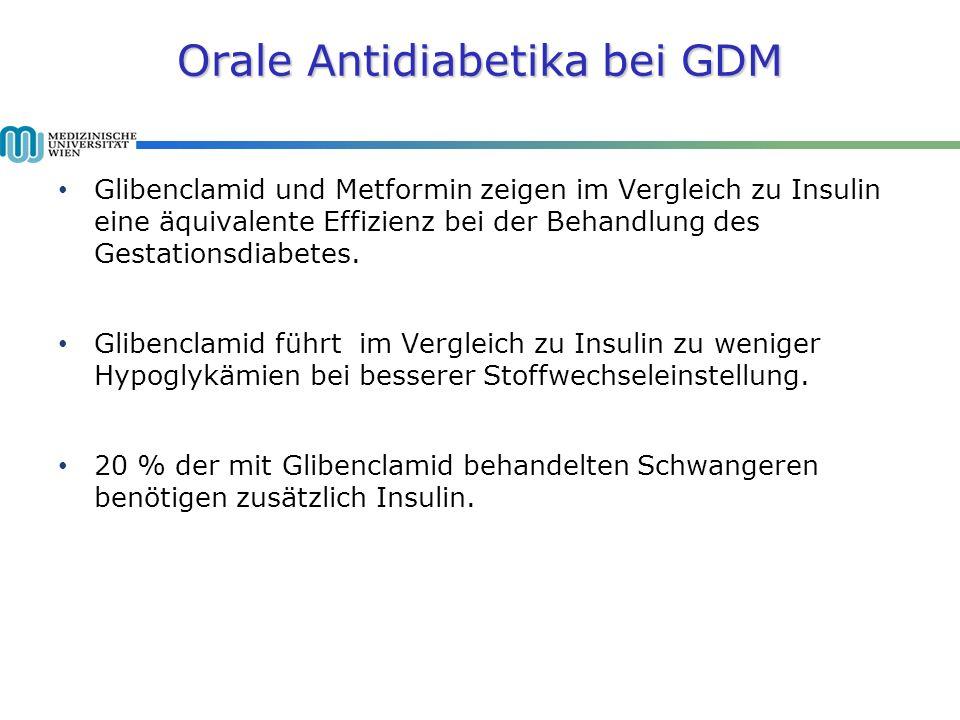 Orale Antidiabetika bei GDM Glibenclamid und Metformin zeigen im Vergleich zu Insulin eine äquivalente Effizienz bei der Behandlung des Gestationsdiabetes.