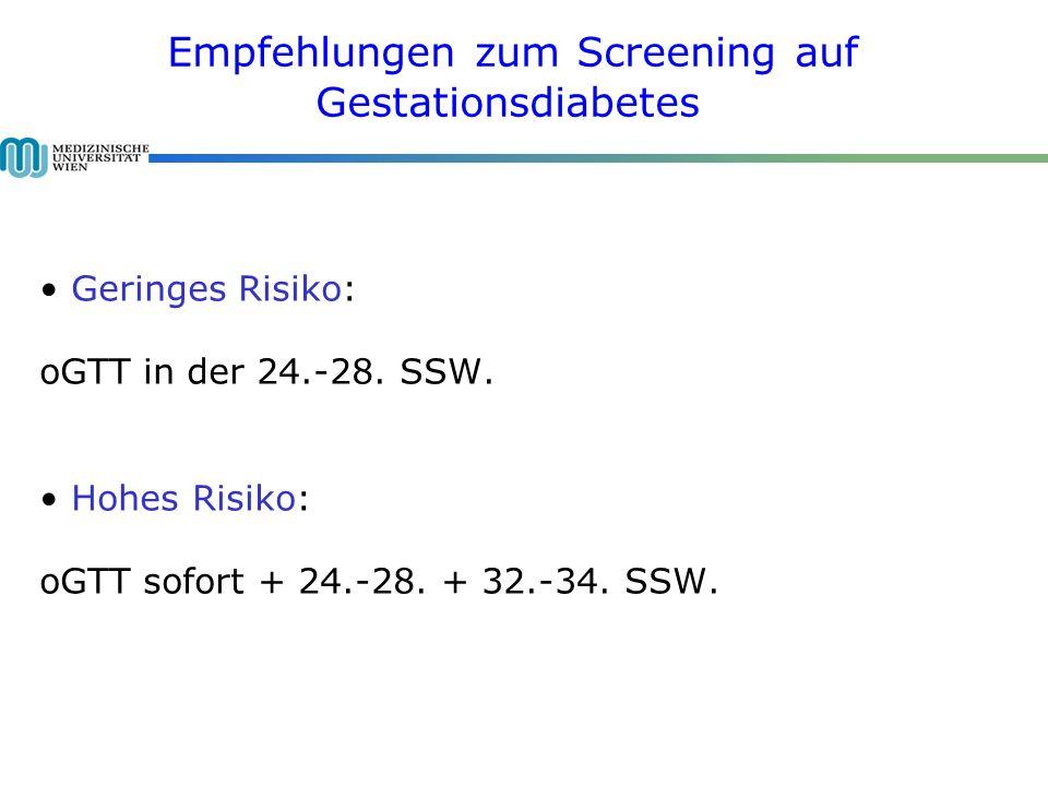 Geringes Risiko: oGTT in der 24.-28.SSW. Hohes Risiko: oGTT sofort + 24.-28.
