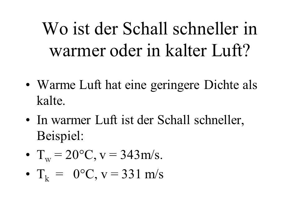 Wo ist der Schall schneller in warmer oder in kalter Luft? Warme Luft hat eine geringere Dichte als kalte. In warmer Luft ist der Schall schneller, Be