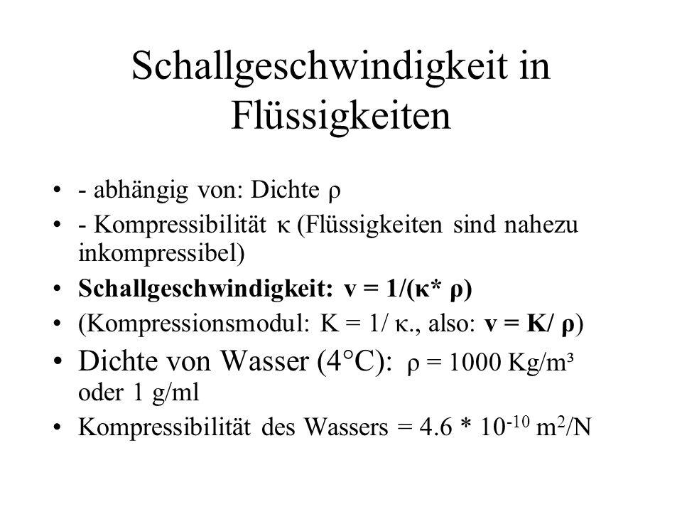 Schallgeschwindigkeit in Flüssigkeiten - abhängig von: Dichte ρ - Kompressibilität κ (Flüssigkeiten sind nahezu inkompressibel) Schallgeschwindigkeit:
