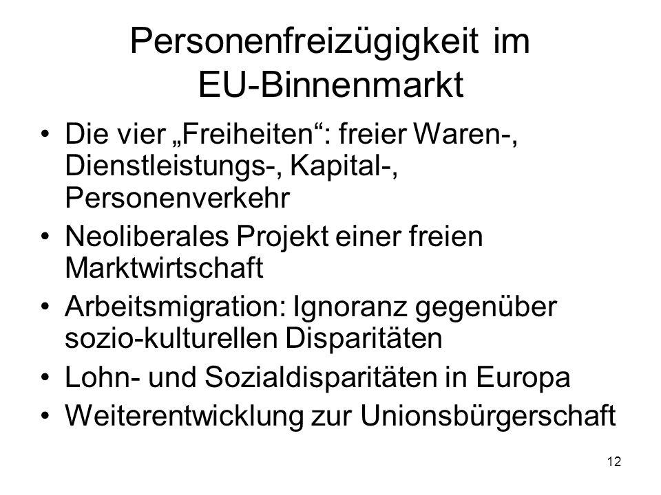 12 Personenfreizügigkeit im EU-Binnenmarkt Die vier Freiheiten: freier Waren-, Dienstleistungs-, Kapital-, Personenverkehr Neoliberales Projekt einer