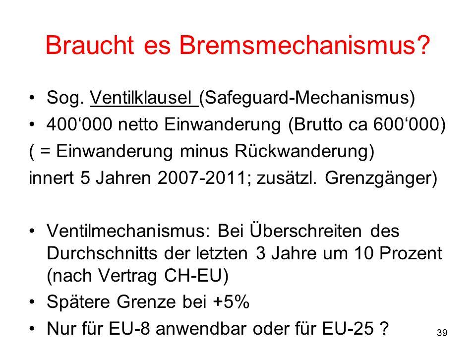 39 Braucht es Bremsmechanismus? Sog. Ventilklausel (Safeguard-Mechanismus) 400000 netto Einwanderung (Brutto ca 600000) ( = Einwanderung minus Rückwan