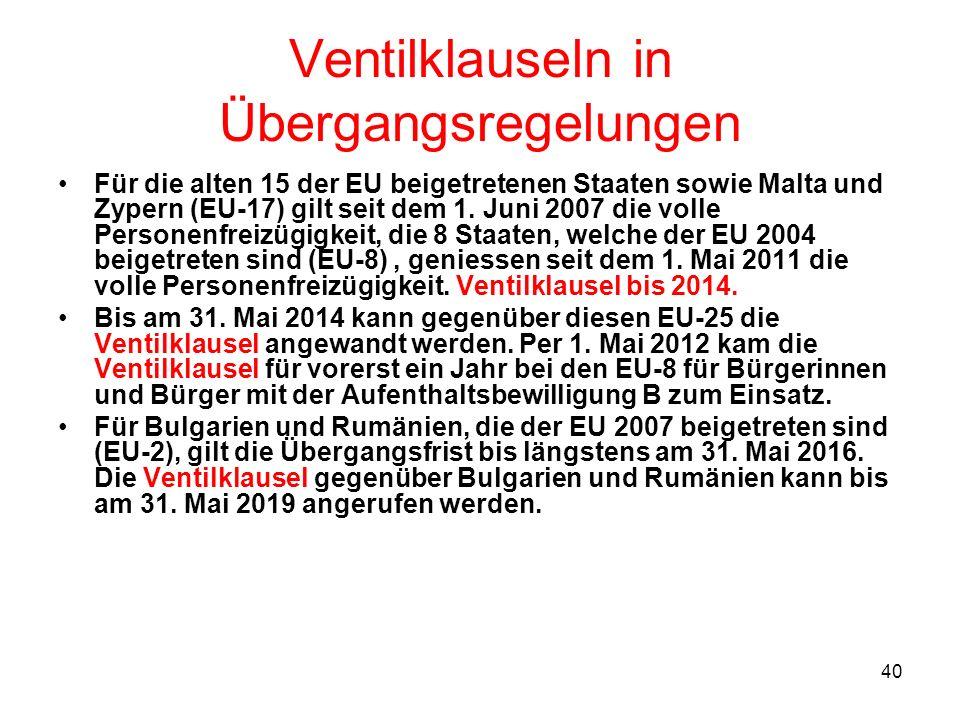 40 Ventilklauseln in Übergangsregelungen Für die alten 15 der EU beigetretenen Staaten sowie Malta und Zypern (EU-17) gilt seit dem 1. Juni 2007 die v