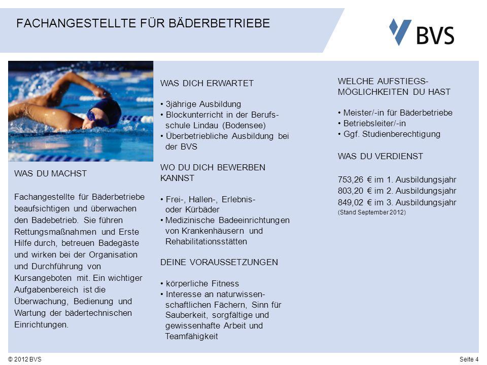 Seite 4© 2012 BVS FACHANGESTELLTE FÜR BÄDERBETRIEBE WAS DU MACHST Fachangestellte für Bäderbetriebe beaufsichtigen und überwachen den Badebetrieb. Sie