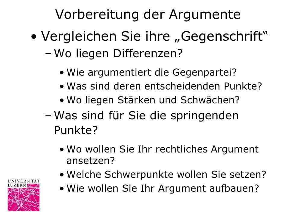 Vorbereitung der Argumente Vergleichen Sie ihre Gegenschrift –Wo liegen Differenzen? Wie argumentiert die Gegenpartei? Was sind deren entscheidenden P