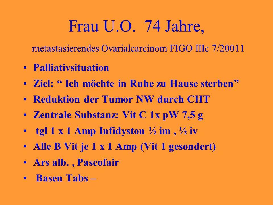 Frau U.O. 74 Jahre, metastasierendes Ovarialcarcinom FIGO IIIc 7/20011 Palliativsituation Ziel: Ich möchte in Ruhe zu Hause sterben Reduktion der Tumo