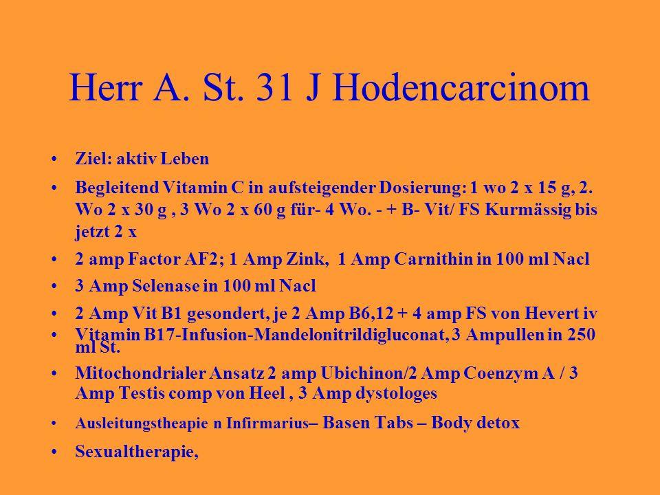 Herr A. St. 31 J Hodencarcinom Ziel: aktiv Leben Begleitend Vitamin C in aufsteigender Dosierung: 1 wo 2 x 15 g, 2. Wo 2 x 30 g, 3 Wo 2 x 60 g für- 4