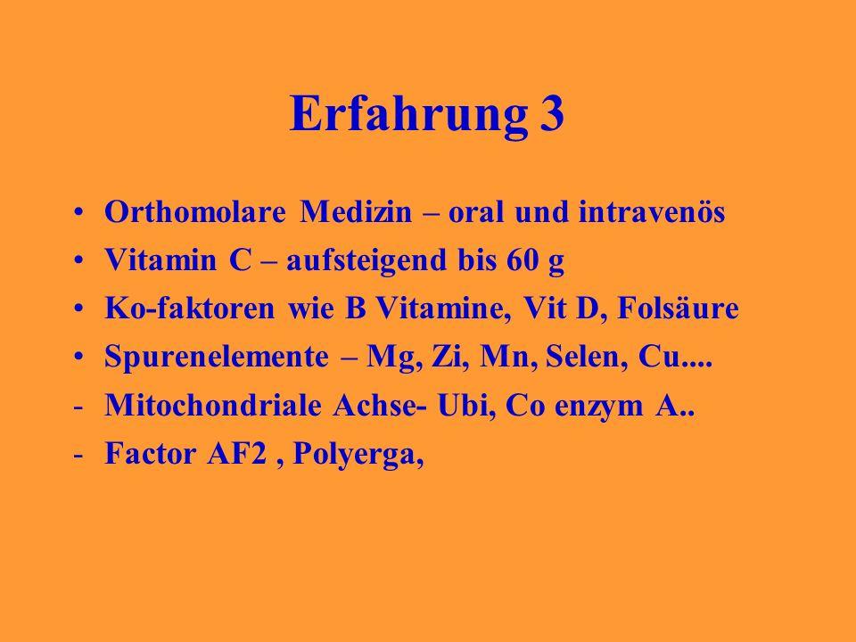 Erfahrung 3 Orthomolare Medizin – oral und intravenös Vitamin C – aufsteigend bis 60 g Ko-faktoren wie B Vitamine, Vit D, Folsäure Spurenelemente – Mg