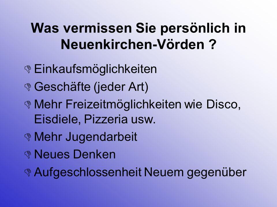 Was vermissen Sie persönlich in Neuenkirchen-Vörden ? Einkaufsmöglichkeiten Geschäfte (jeder Art) Mehr Freizeitmöglichkeiten wie Disco, Eisdiele, Pizz