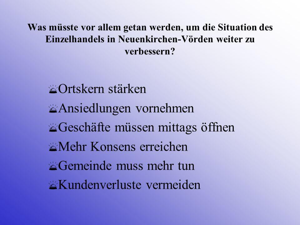 Was müsste vor allem getan werden, um die Situation des Einzelhandels in Neuenkirchen-Vörden weiter zu verbessern? Ortskern stärken Ansiedlungen vorne