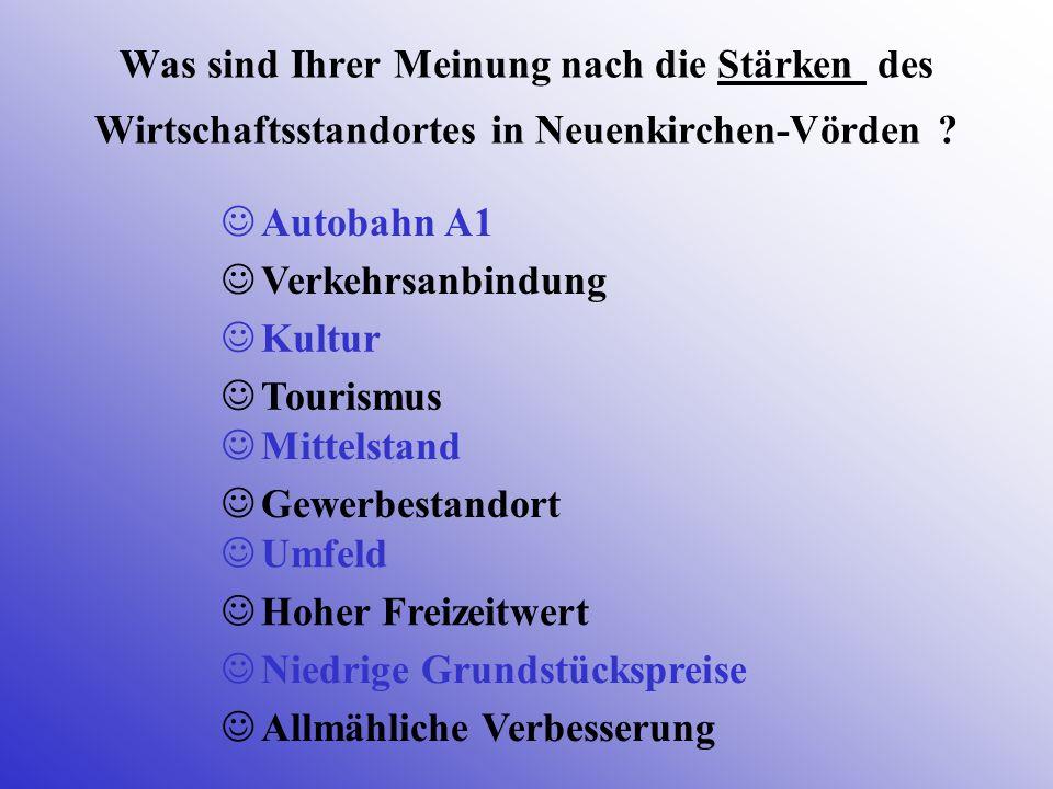 Was sind Ihrer Meinung nach die Stärken des Wirtschaftsstandortes in Neuenkirchen-Vörden ? Autobahn A1 Tourismus Verkehrsanbindung Kultur Mittelstand