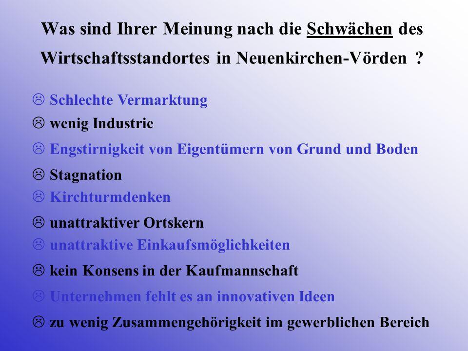 Was sind Ihrer Meinung nach die Schwächen des Wirtschaftsstandortes in Neuenkirchen-Vörden ? Schlechte Vermarktung Stagnation wenig Industrie Engstirn