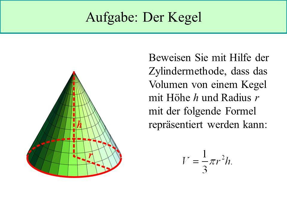 Aufgabe: Der Kegel Beweisen Sie mit Hilfe der Zylindermethode, dass das Volumen von einem Kegel mit Höhe h und Radius r mit der folgende Formel repräsentiert werden kann: