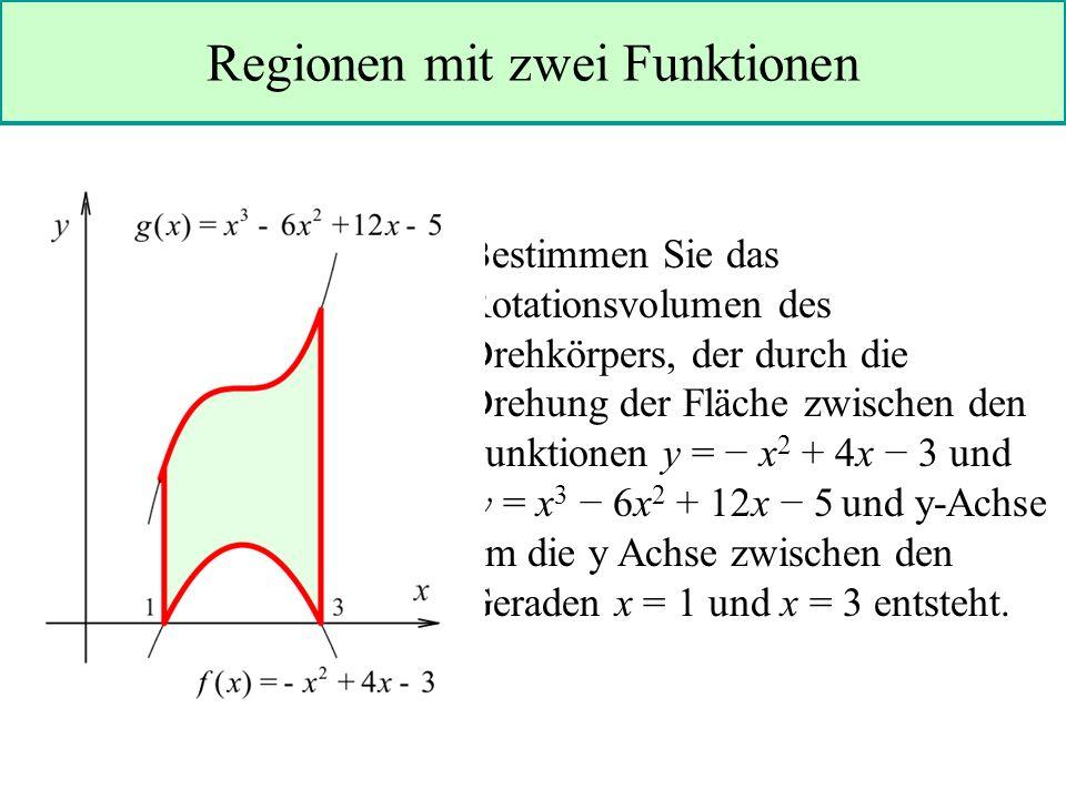 Regionen mit zwei Funktionen Bestimmen Sie das Rotationsvolumen des Drehkörpers, der durch die Drehung der Fläche zwischen den Funktionen y = x 2 + 4x 3 und y = x 3 6x 2 + 12x 5 und y-Achse um die y Achse zwischen den Geraden x = 1 und x = 3 entsteht.