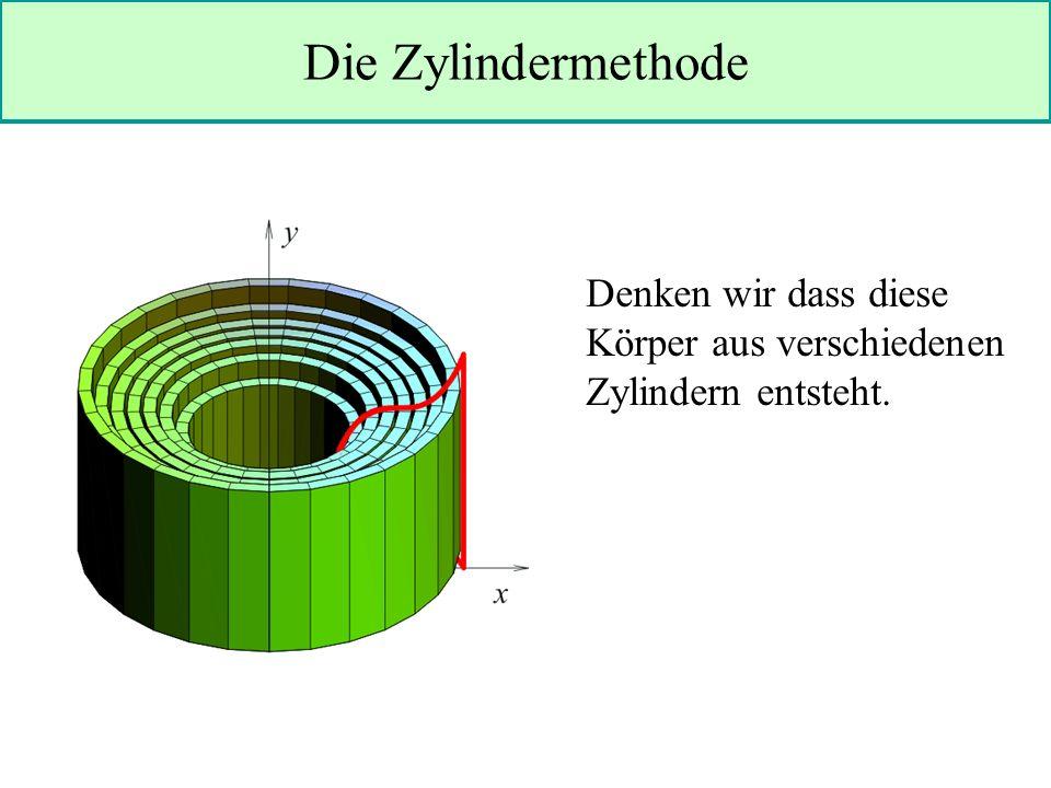 Die Zylindermethode Denken wir dass diese Körper aus verschiedenen Zylindern entsteht.