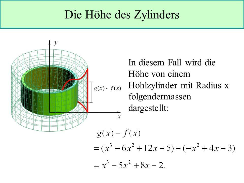In diesem Fall wird die Höhe von einem Hohlzylinder mit Radius x folgendermassen dargestellt: