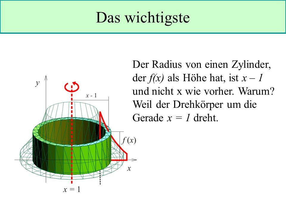 Das wichtigste Der Radius von einen Zylinder, der f(x) als Höhe hat, ist x – 1 und nicht x wie vorher.