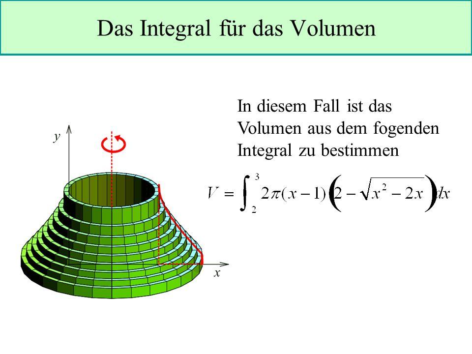 Das Integral für das Volumen In diesem Fall ist das Volumen aus dem fogenden Integral zu bestimmen