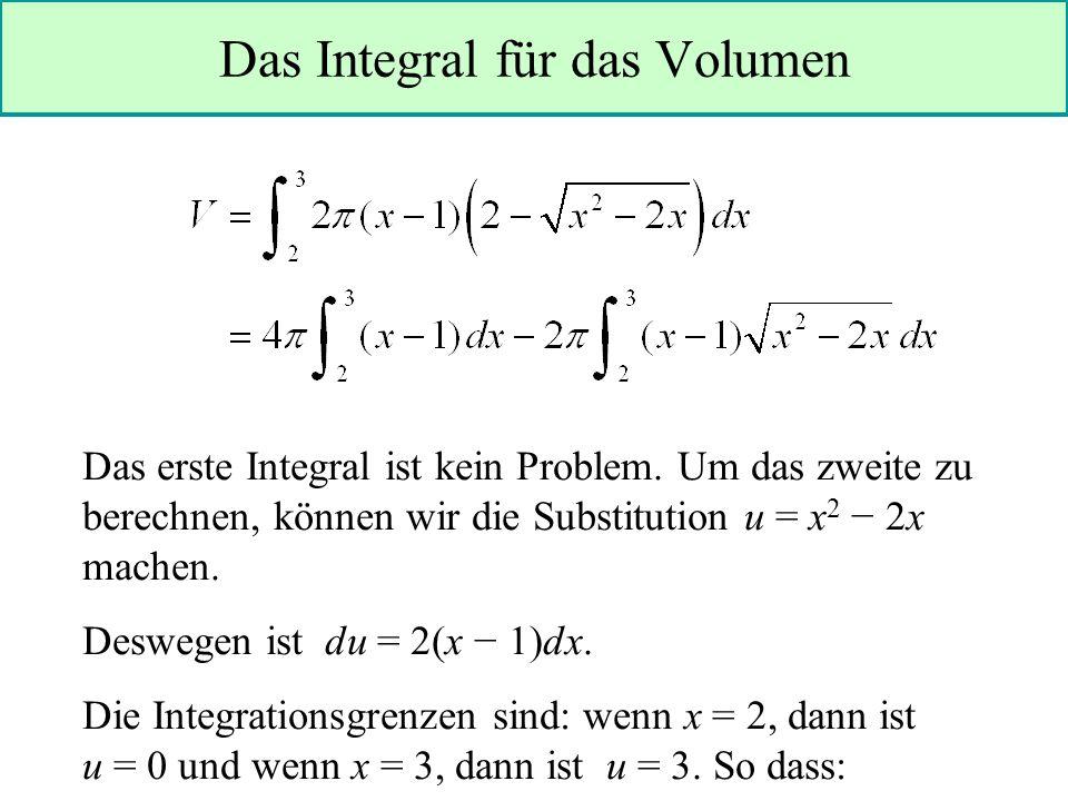 Das Integral für das Volumen Das erste Integral ist kein Problem.