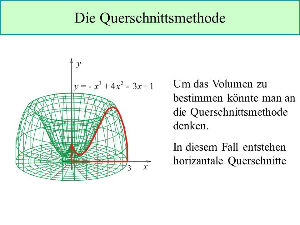 Die Querschnittsmethode Um das Volumen zu bestimmen könnte man an die Querschnittsmethode denken.