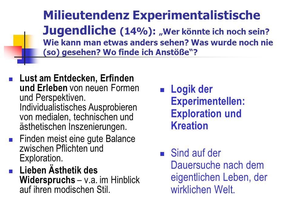 Milieutendenz Experimentalistische Jugendliche (14%): Wer könnte ich noch sein.