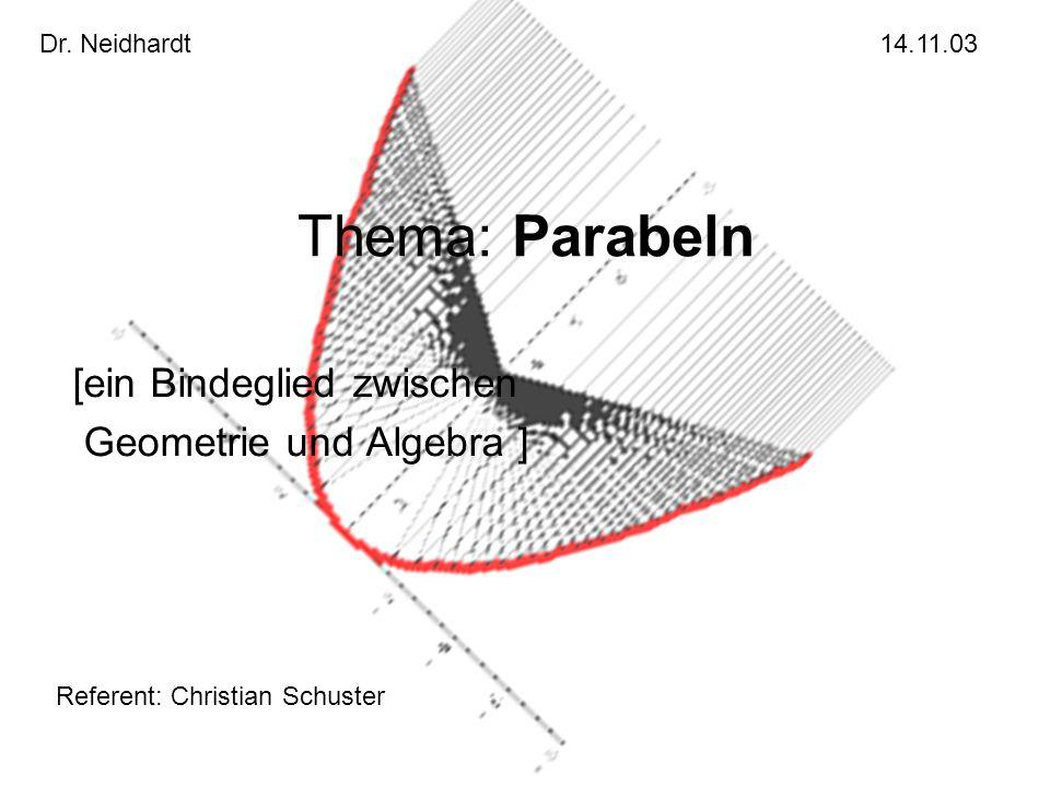 Thema: Parabeln [ein Bindeglied zwischen Geometrie und Algebra ] Dr. Neidhardt14.11.03 Referent: Christian Schuster