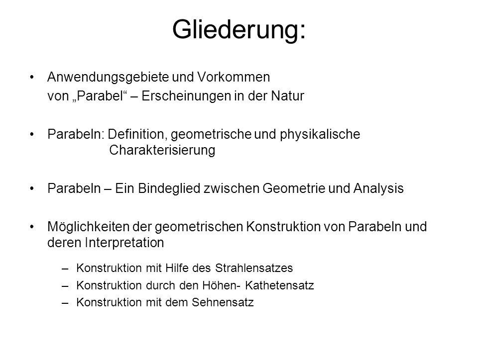 Gliederung: Anwendungsgebiete und Vorkommen von Parabel – Erscheinungen in der Natur Parabeln: Definition, geometrische und physikalische Charakterisi
