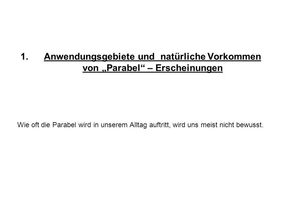 1.Anwendungsgebiete und natürliche Vorkommen von Parabel – Erscheinungen Wie oft die Parabel wird in unserem Alltag auftritt, wird uns meist nicht bew