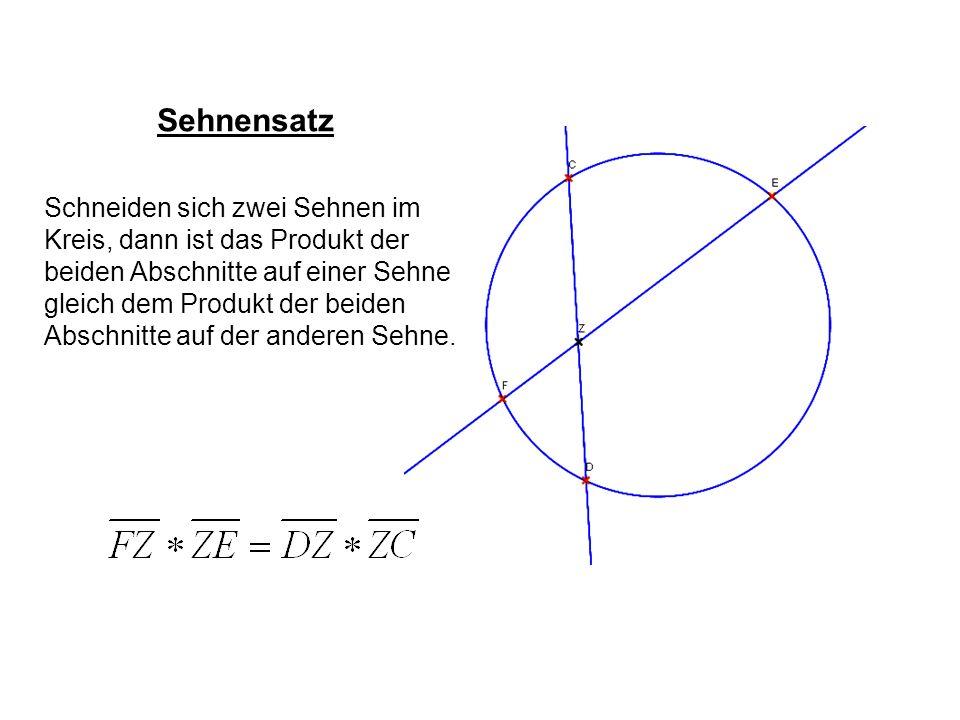Sehnensatz Schneiden sich zwei Sehnen im Kreis, dann ist das Produkt der beiden Abschnitte auf einer Sehne gleich dem Produkt der beiden Abschnitte au
