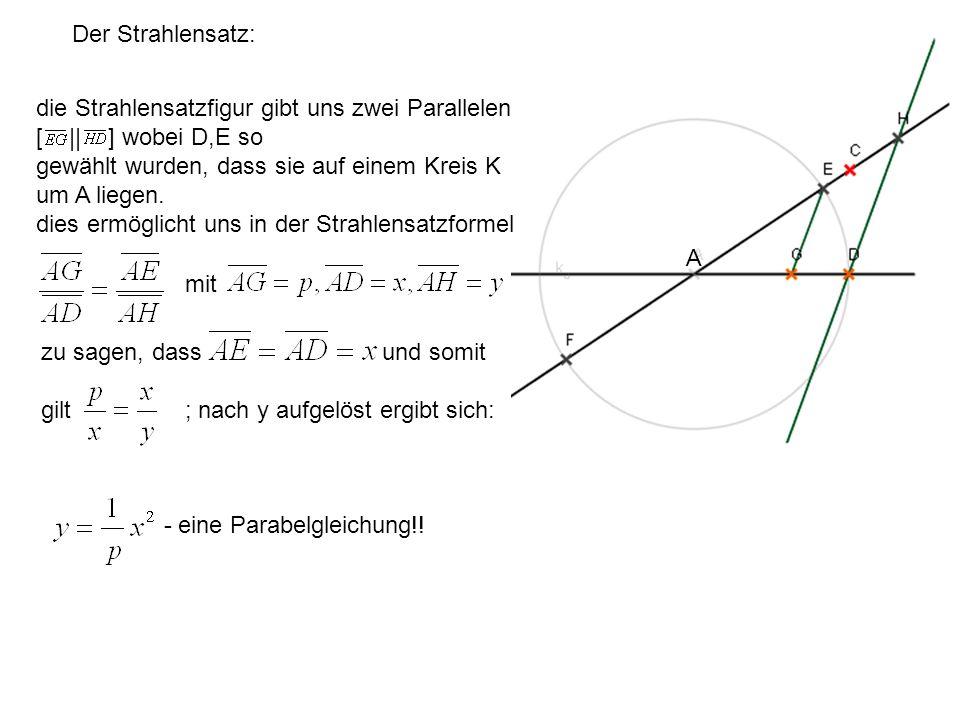 Der Strahlensatz: A die Strahlensatzfigur gibt uns zwei Parallelen [ || ] wobei D,E so gewählt wurden, dass sie auf einem Kreis K um A liegen. dies er