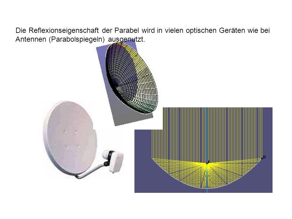 Die Reflexionseigenschaft der Parabel wird in vielen optischen Geräten wie bei Antennen (Parabolspiegeln) ausgenutzt.