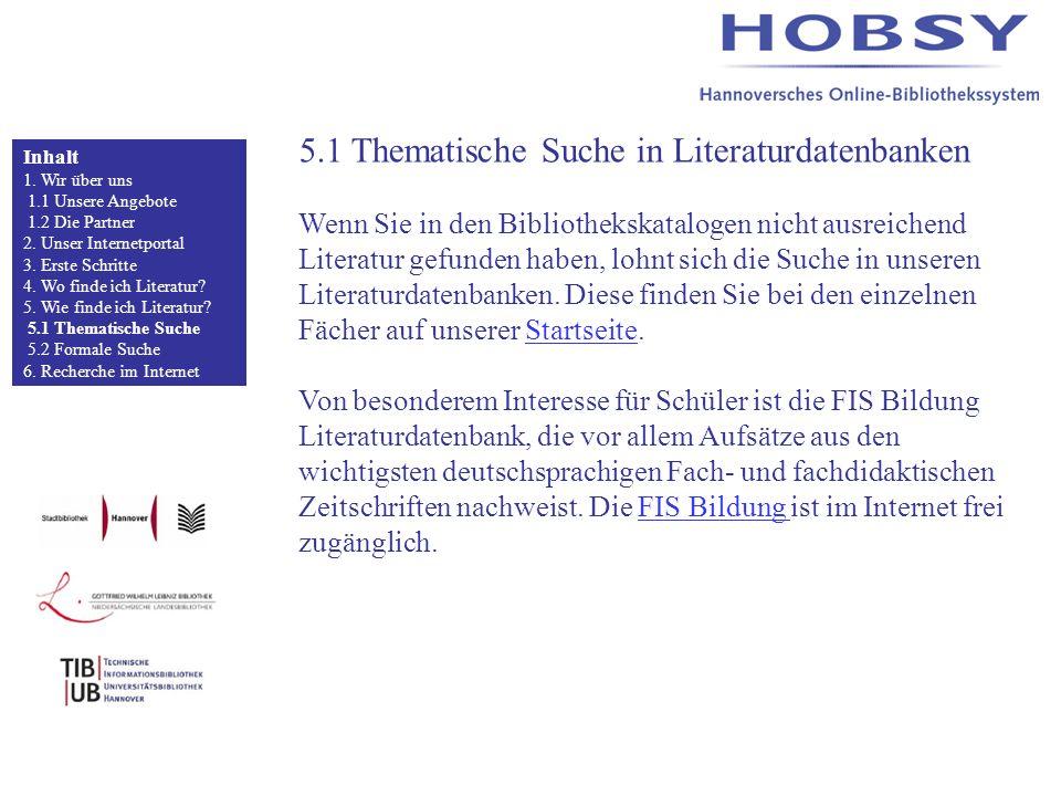 5.1 Thematische Suche in Literaturdatenbanken Wenn Sie in den Bibliothekskatalogen nicht ausreichend Literatur gefunden haben, lohnt sich die Suche in unseren Literaturdatenbanken.