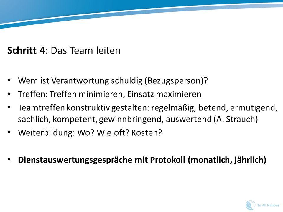 Schritt 4: Das Team leiten Wem ist Verantwortung schuldig (Bezugsperson)? Treffen: Treffen minimieren, Einsatz maximieren Teamtreffen konstruktiv gest