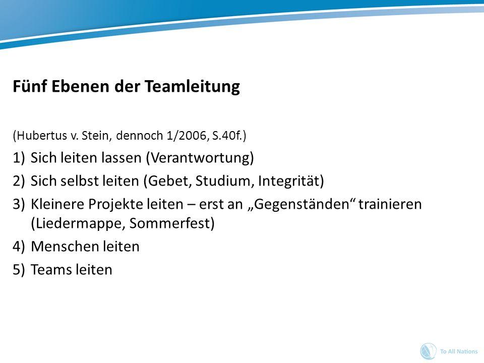Fünf Ebenen der Teamleitung (Hubertus v. Stein, dennoch 1/2006, S.40f.) 1)Sich leiten lassen (Verantwortung) 2)Sich selbst leiten (Gebet, Studium, Int