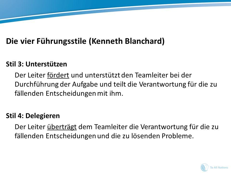 Die vier Führungsstile (Kenneth Blanchard) Stil 3: Unterstützen Der Leiter fördert und unterstützt den Teamleiter bei der Durchführung der Aufgabe und