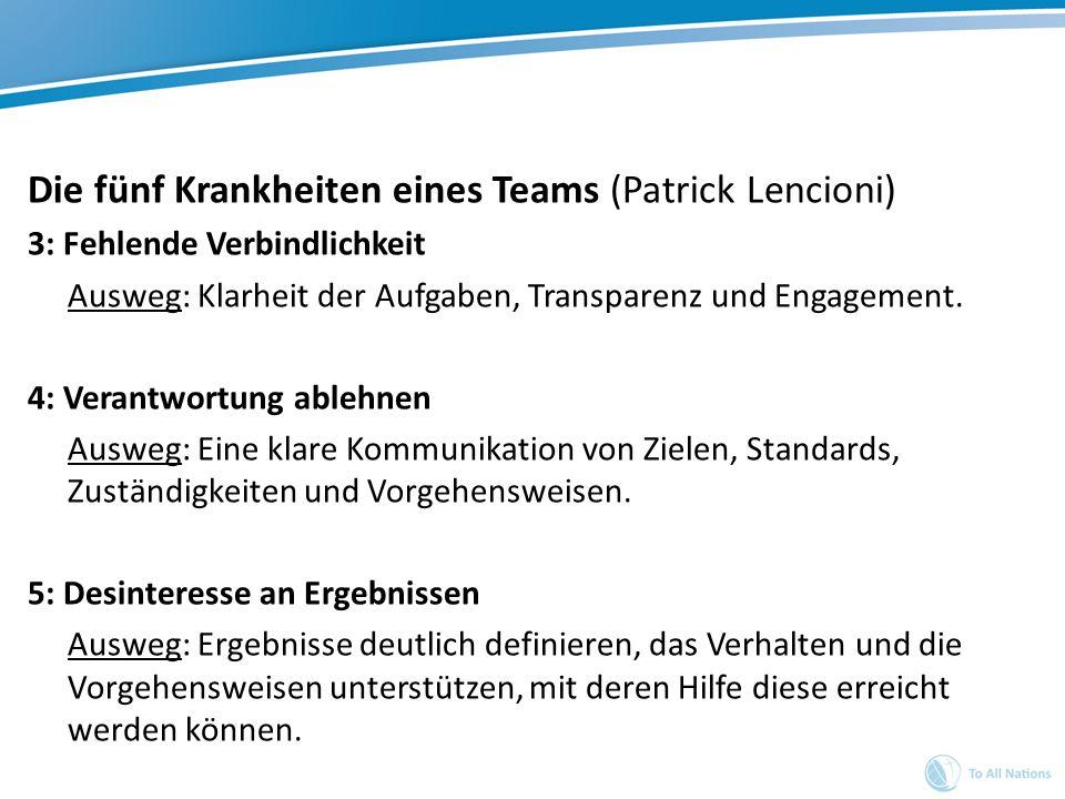Die fünf Krankheiten eines Teams (Patrick Lencioni) 3: Fehlende Verbindlichkeit Ausweg: Klarheit der Aufgaben, Transparenz und Engagement. 4: Verantwo
