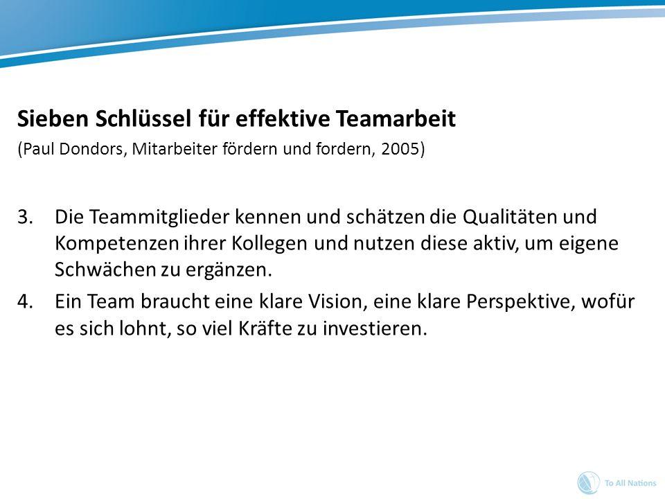 Sieben Schlüssel für effektive Teamarbeit (Paul Dondors, Mitarbeiter fördern und fordern, 2005) 3.Die Teammitglieder kennen und schätzen die Qualitäte